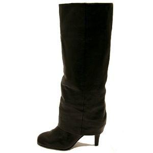 Ash Tall Black Foldover Knee High Boots